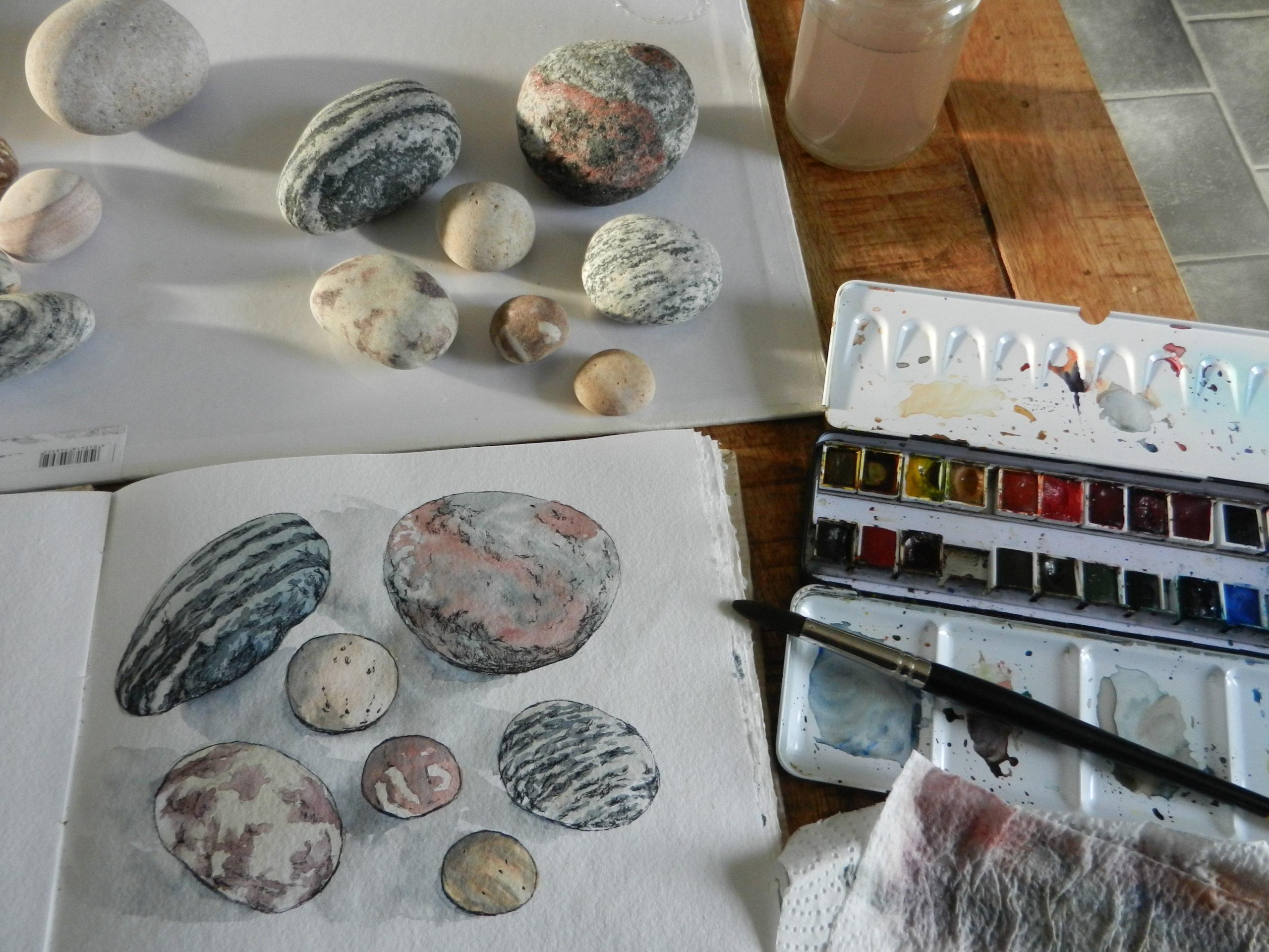 Pebbles in watercolour